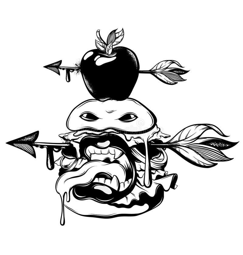 Dirigez l'illustration tirée par la main de l'hamburger avec la flèche dans sa tête d'isolement illustration libre de droits