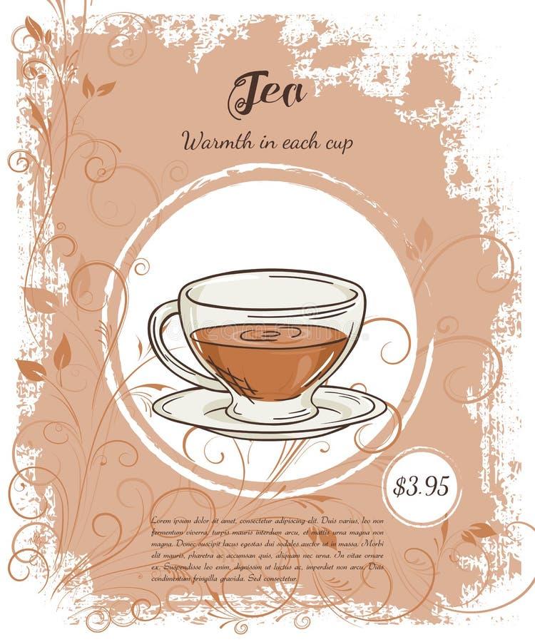 Dirigez l'illustration tirée par la main des pages de menu de boissons avec la tasse de thé noir illustration libre de droits
