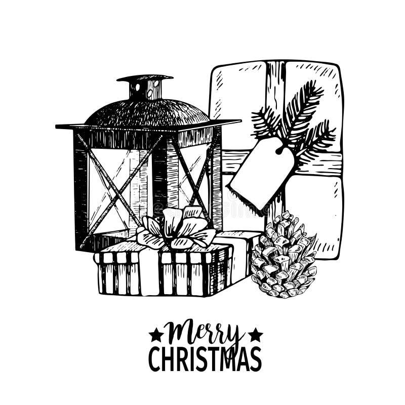 Dirigez l'illustration tirée par la main des paquets, du cône et de la lanterne de cadeau Décoration d'art gravée par Noël illustration de vecteur