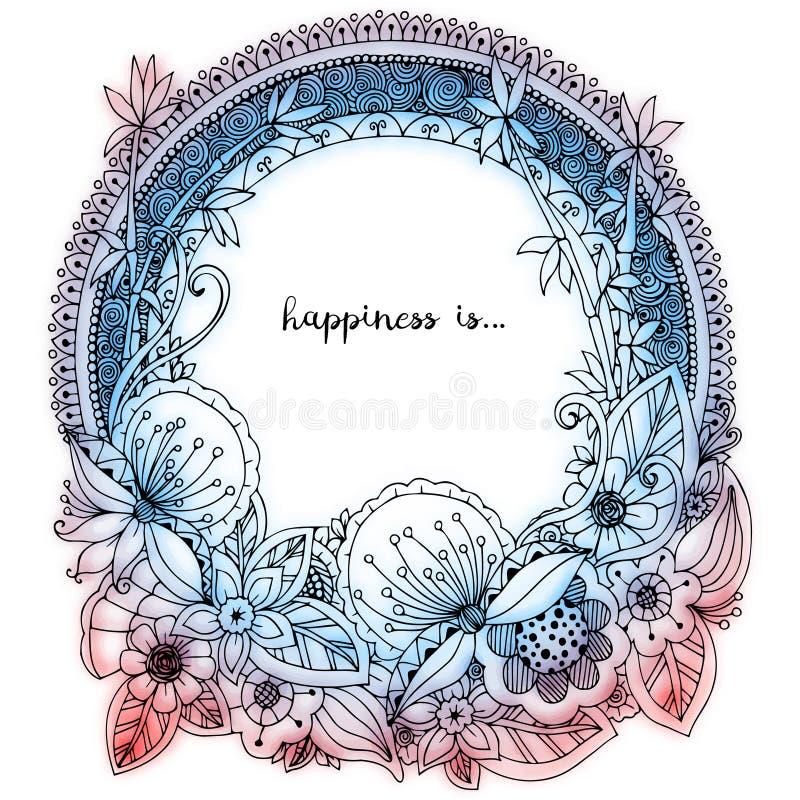 Dirigez l'illustration Zen Tangle, cadre rond de griffonnage avec des fleurs, mandala illustration libre de droits