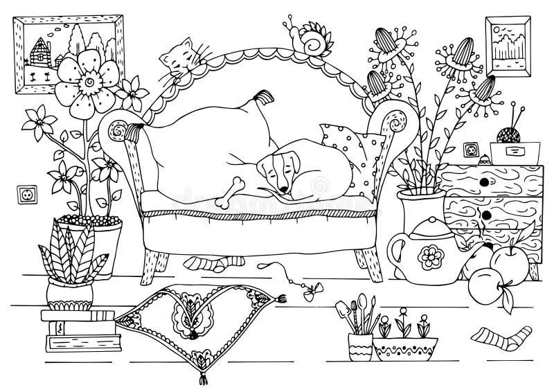 Dirigez l'illustration Zen Tangle, l'intérieur de l'appartement Dessin de griffonnage illustration de vecteur