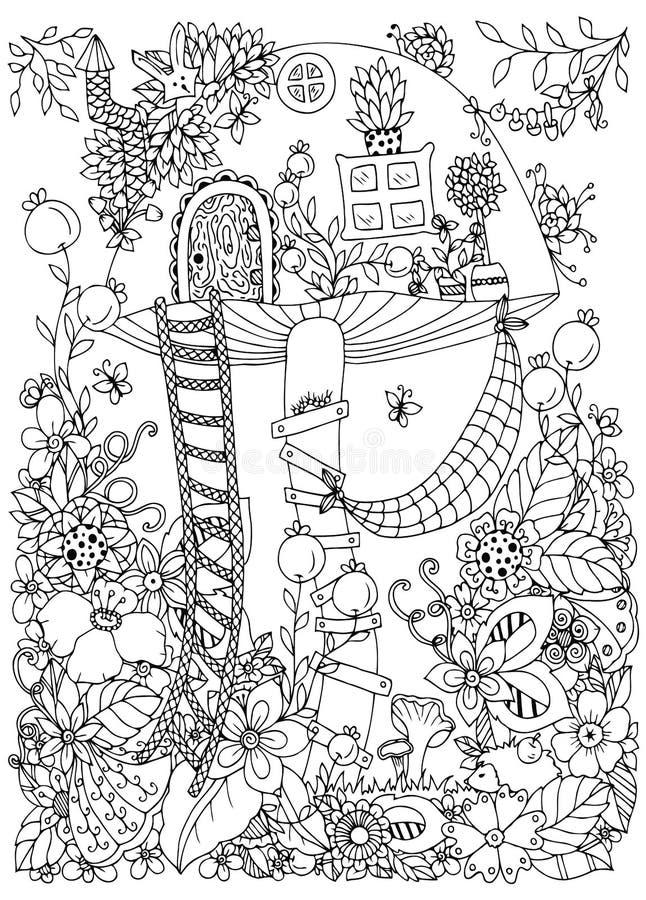 Dirigez l'illustration Zen Tangle, maison de griffonnage du champignon dans la forêt illustration de vecteur