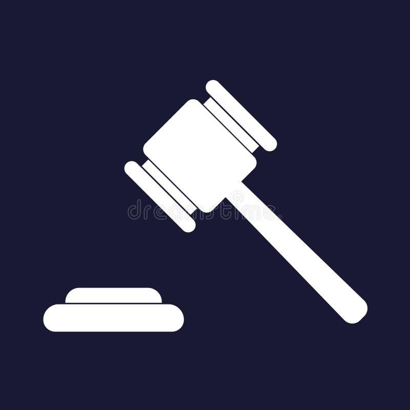 Dirigez l'image d'un marteau de cour de marteau de juge Icône de vecteur d'un marteau de justice Illustration de vecteur de vente illustration libre de droits