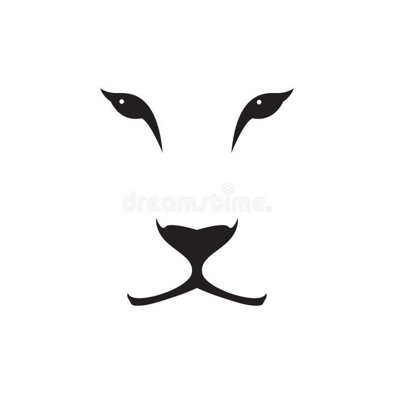 Dirigez l'image d'une tête de lionne sur le fond blanc illustration libre de droits