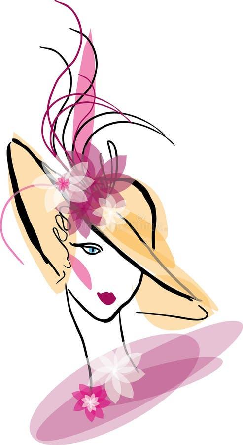 Femme de cru en portrait de chapeau illustration stock