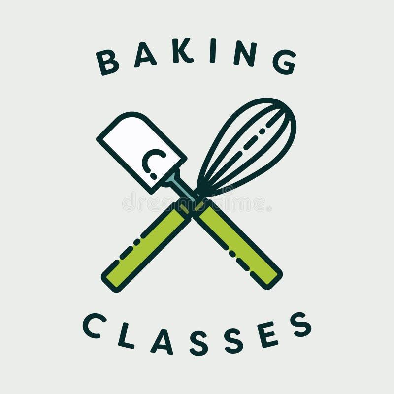 Dirigez l'image du batteur de spatule et d'oeufs avec des classes de cuisson des textes illustration libre de droits
