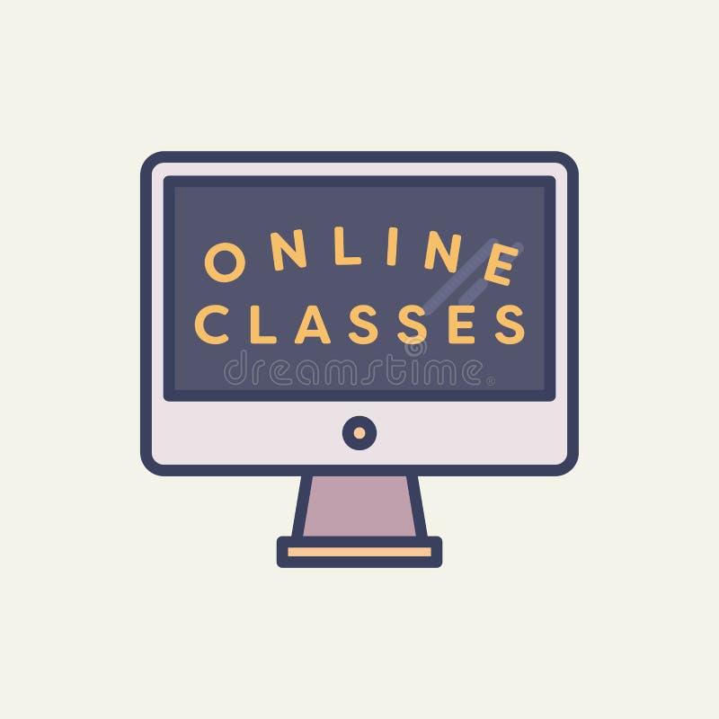 Dirigez l'image du PC de bureau avec les classes en ligne des textes illustration libre de droits