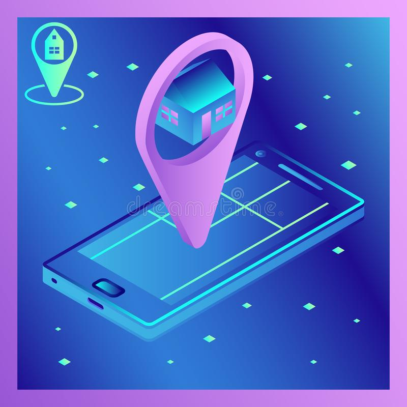 Dirigez l'image isométrique d'un smartphone avec l'application de navigation Guide d'application Carte d'itinéraire avec l'emplac illustration libre de droits