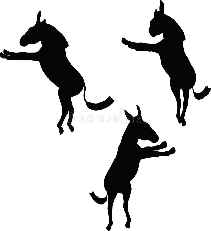 Dirigez l'image, silhouette d'âne, dans la pose de mâle, d'isolement sur le fond blanc illustration de vecteur