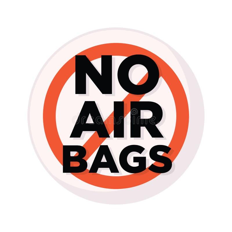Dirigez l'inscription de croix de panneau d'avertissement d'image aucun airbags en cercle rouge illustration libre de droits