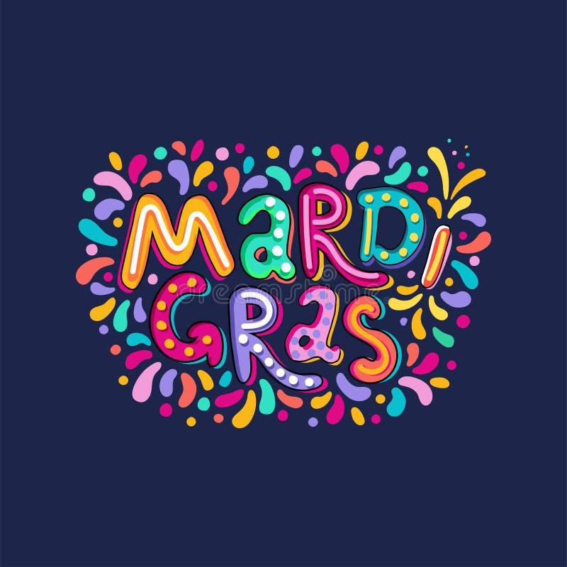 Dirigez l'inscription tirée par la main des textes de Mardi Gras Lettering Titre de carnaval avec les éléments colorés de partie, illustration libre de droits