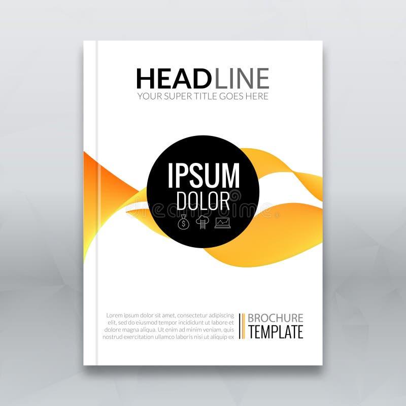 Dirigez l'insecte orange d'écoulement onduleux moderne abstrait, brochure, disposition de maquette de calibre de conception de co illustration libre de droits