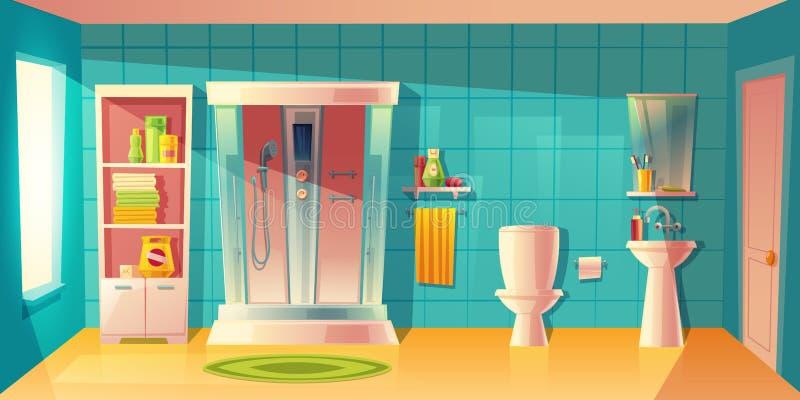 Dirigez l'intérieur de salle de bains, la carlingue de douche et le lavabo illustration stock