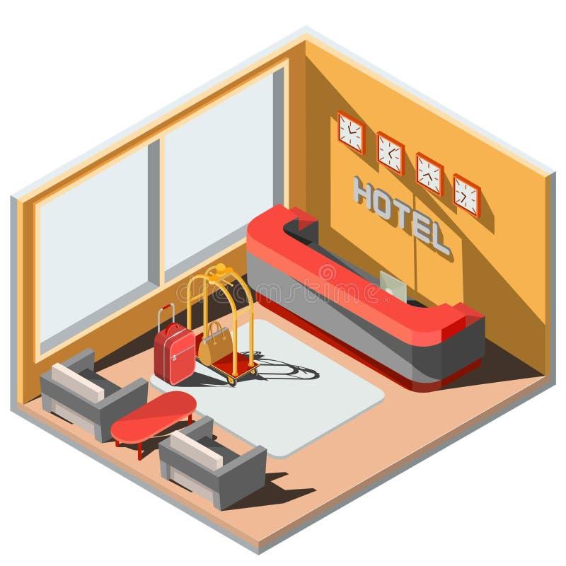 Dirigez l'intérieur isométrique de l'illustration 3D du lobby d'hôtel avec la réception illustration libre de droits
