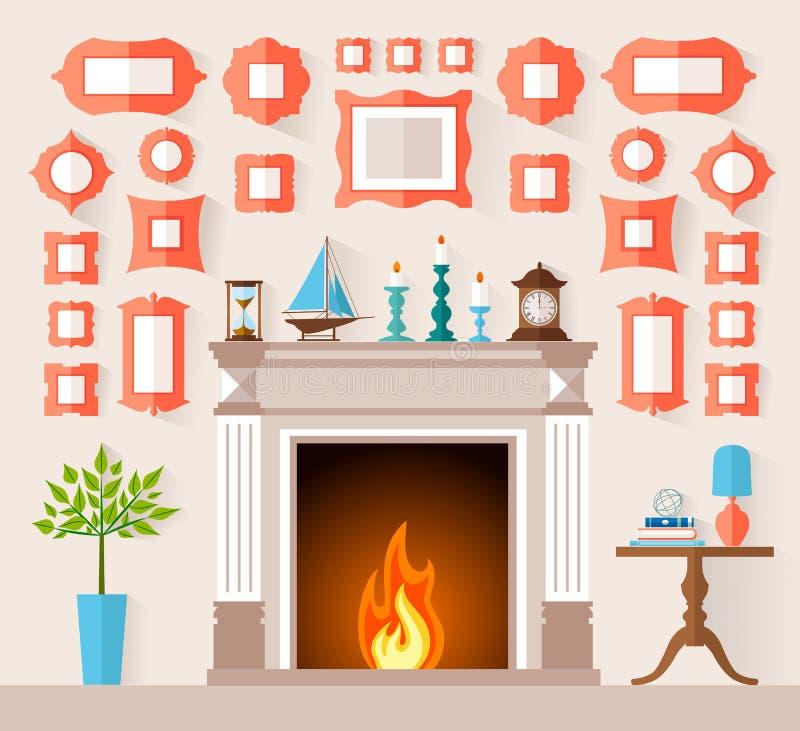 Dirigez l'intérieur plat de style avec une cheminée et un mur décorés des peintures illustration libre de droits