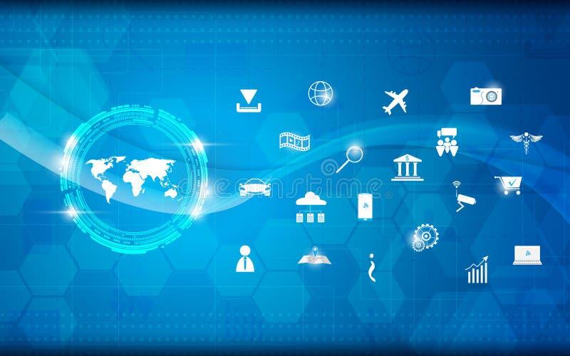 Dirigez l'Internet de modèle de la science et technologie d'abrégé sur carte du monde du fond de concept de choses illustration de vecteur