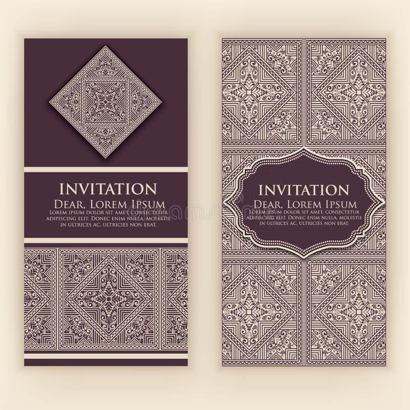 Dirigez l'invitation, cartes avec les éléments ethniques d'arabesque Conception de style d'arabesque Ornements abstraits floraux  illustration libre de droits
