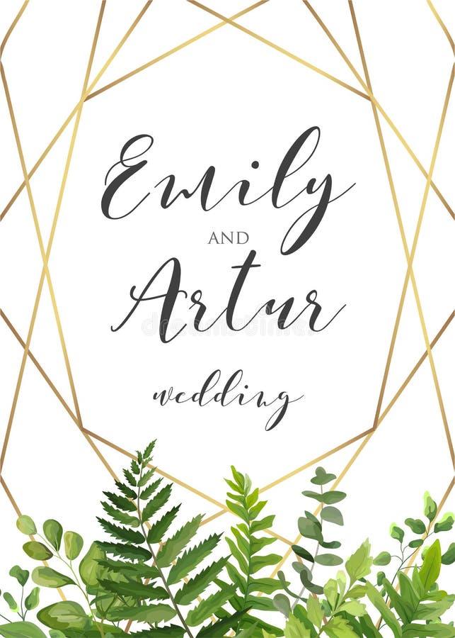 Dirigez l'invitation florale de mariage botanique, invitez, sauvez le dat illustration stock
