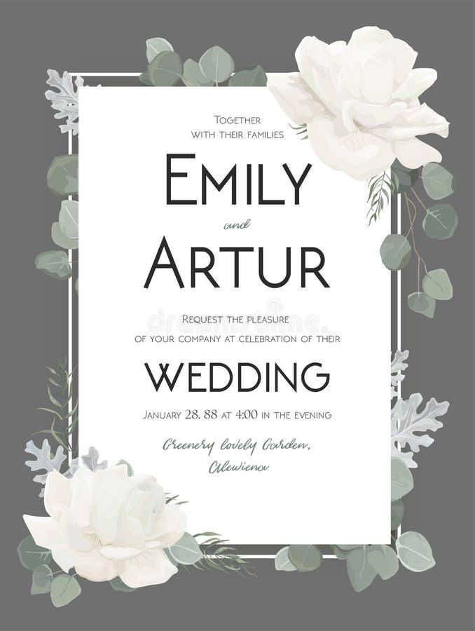 Dirigez l'invitation florale de mariage, invitez, sauvez le DES de carte de date illustration libre de droits