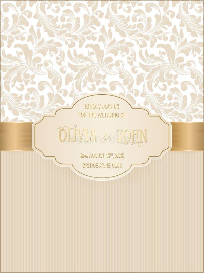 Dirigez l'invitation, les cartes ou la carte de mariage avec le fond de damassé et les éléments floraux élégants illustration stock
