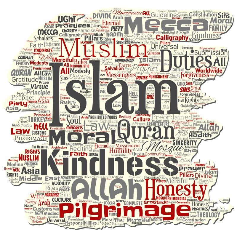 Dirigez l'Islam, prophète, vieux nuage de papier déchiré de mot de mosquée illustration de vecteur