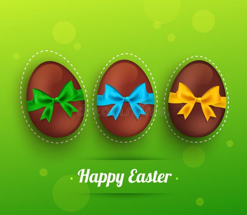 Dirigez l'oeuf de chocolat de Pâques avec le ruban sur le vert illustration de vecteur