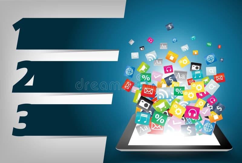 Dirigez l'ordinateur de tablette avec le concept coloré de graphisme d'application illustration de vecteur