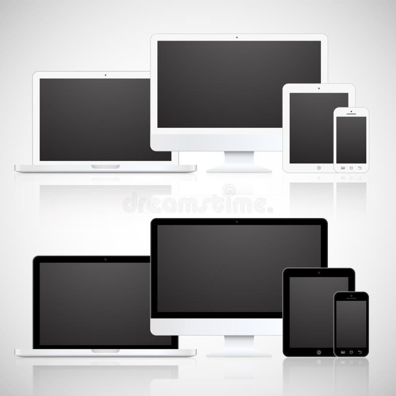 Dirigez l'ordinateur portable, le comprimé, le moniteur et le téléphone illustration de vecteur