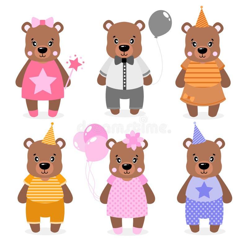 Dirigez l'ours, les filles et les garçons heureux mignons habillé dans différents vêtements Copie de Scrapbooking Félicitez la ca illustration de vecteur
