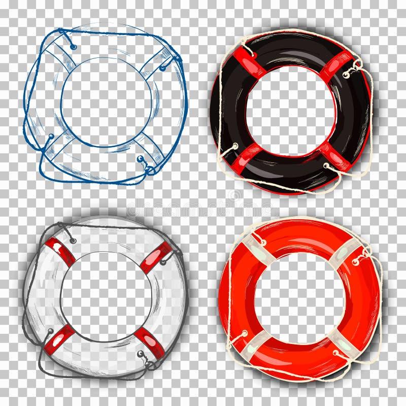 Dirigez la balise de vie réaliste brillante avec la corde - aide ou aidez le symbole d'isolement sur le fond transparent illustration de vecteur