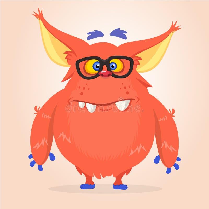 Dirigez la bande dessinée d'un gros et pelucheux monstre rouge de Halloween avec de grandes oreilles portant des lunettes illustration libre de droits