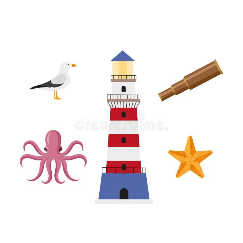 Dirigez la bande dessinée plate nautique, ensemble de symboles marin illustration stock