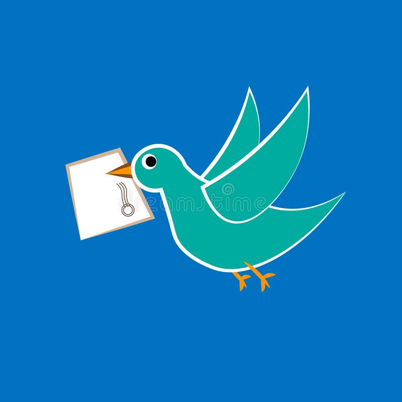 Dirigez la bannière avec amour de courrier de colombe, d'enveloppe et de textes illustration de vecteur