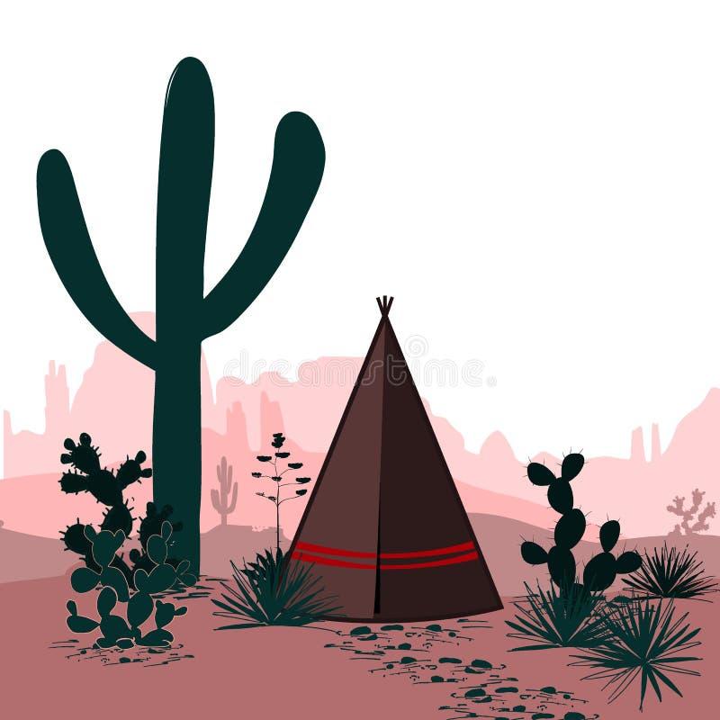 Dirigez la bannière avec le désert, tepee, les montagnes silhouettées par cactus Illustration occidentale sauvage de bande dessin illustration libre de droits