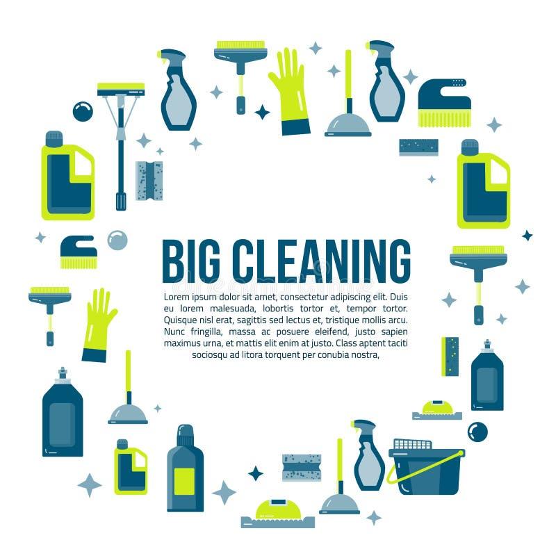 Dirigez la bannière d'articles de nettoyage dans le style plat avec la bouteille de jet, des approvisionnements bucket, de balai  illustration libre de droits