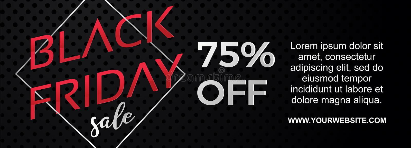 Dirigez la bannière noire de vendredi avec élégant minimaliste de style géométrique du cadre 3d de remise illustration de vecteur