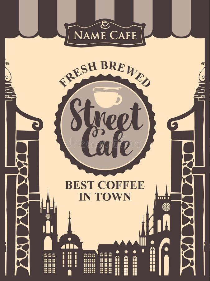 Dirigez la bannière pour le café de rue dans la vieille ville illustration de vecteur