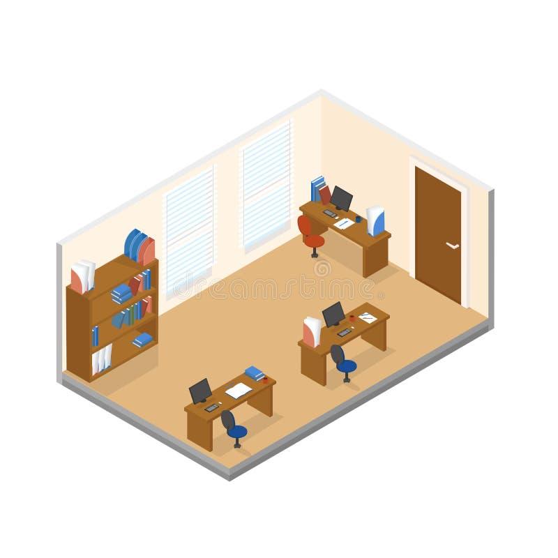 Dirigez la basse poly pièce isométrique de bureau avec le lieu de travail trois illustration stock