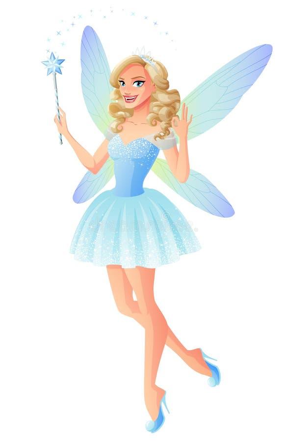 Dirigez la belle fée bleue avec les ailes magiques de baguette magique et de libellule illustration libre de droits