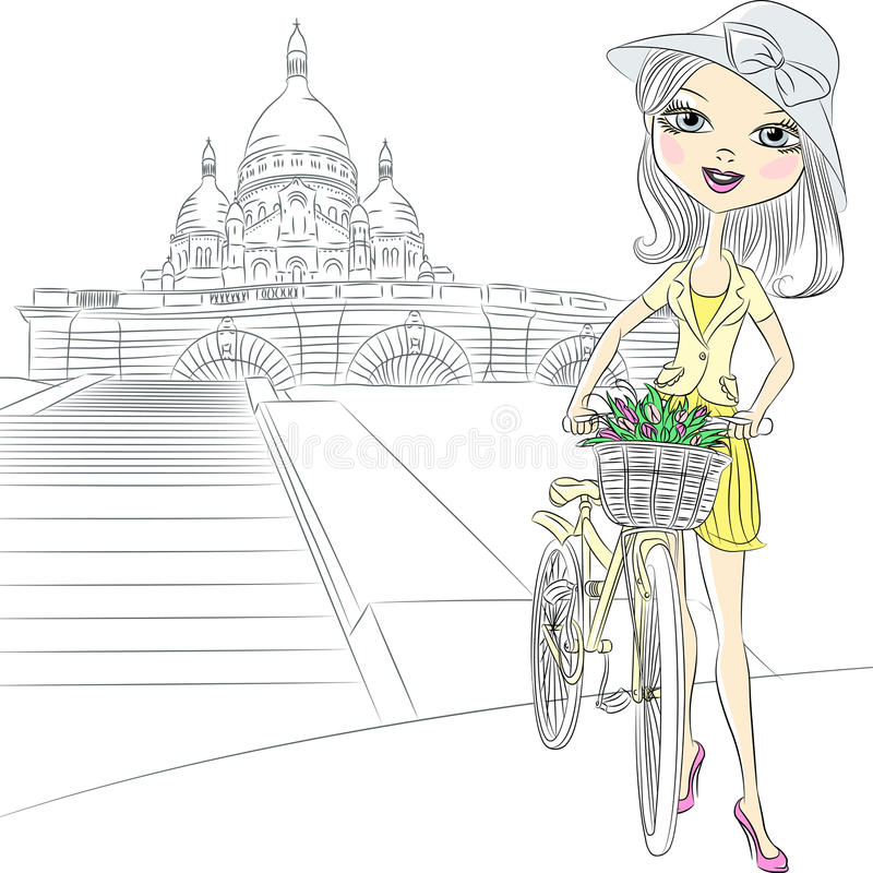Dirigez la belle fille avec des fleurs à Paris illustration de vecteur