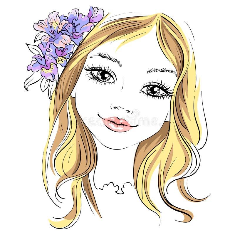 Dirigez la belle fille de mode avec la fleur dans les cheveux illustration stock