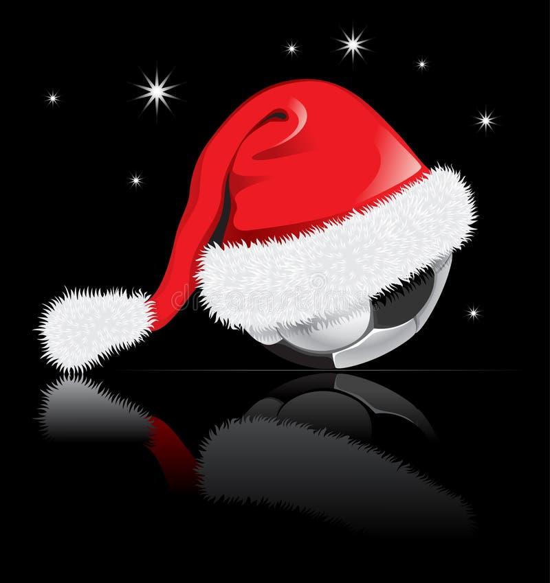 Dirigez la bille de football dans le chapeau de Santa Klaus illustration libre de droits