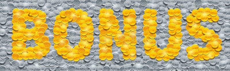 Dirigez la bonification de mot faite de pièces de monnaie d'or brillantes sur le fond rempli de pièces en argent illustration de vecteur