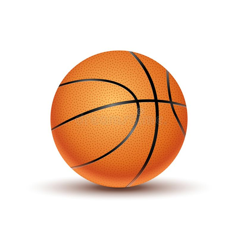 Dirigez la boule de basket-ball d'isolement sur un fond blanc Symbole orange de jeu de basket-ball Activité d'icône de sport illustration de vecteur