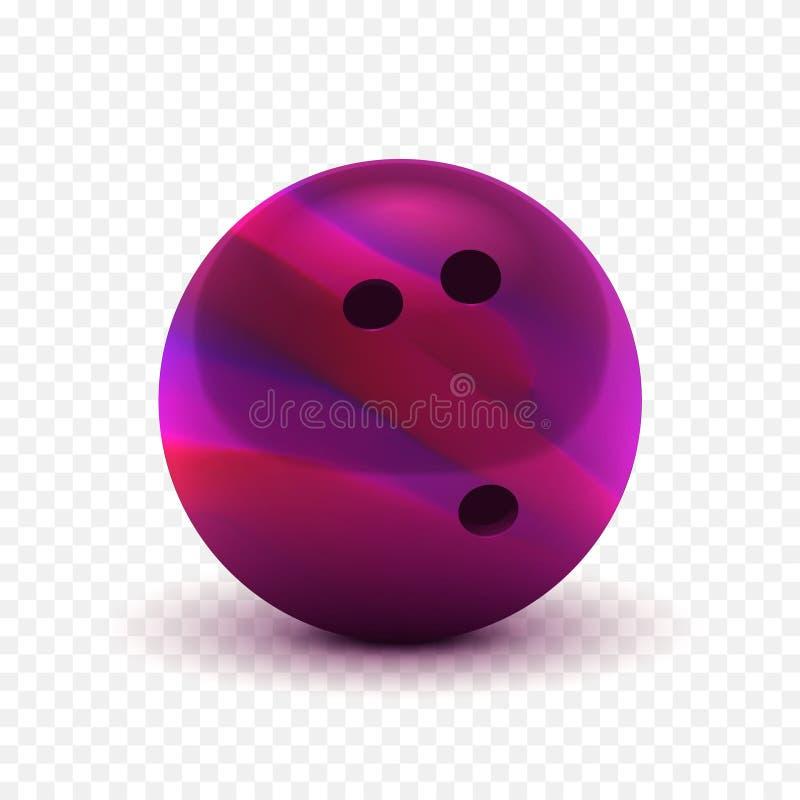 Dirigez la boule de bowling rose barrée par 3D réaliste d'illustration D'isolement sur un fond à carreaux transparent Élément de  illustration stock