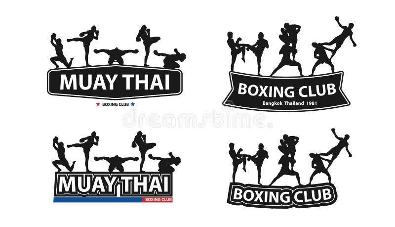 Dirigez la boxe thaïlandaise avec l'action thaïlandaise de Muay sur de grandes lettres plates illustration de vecteur