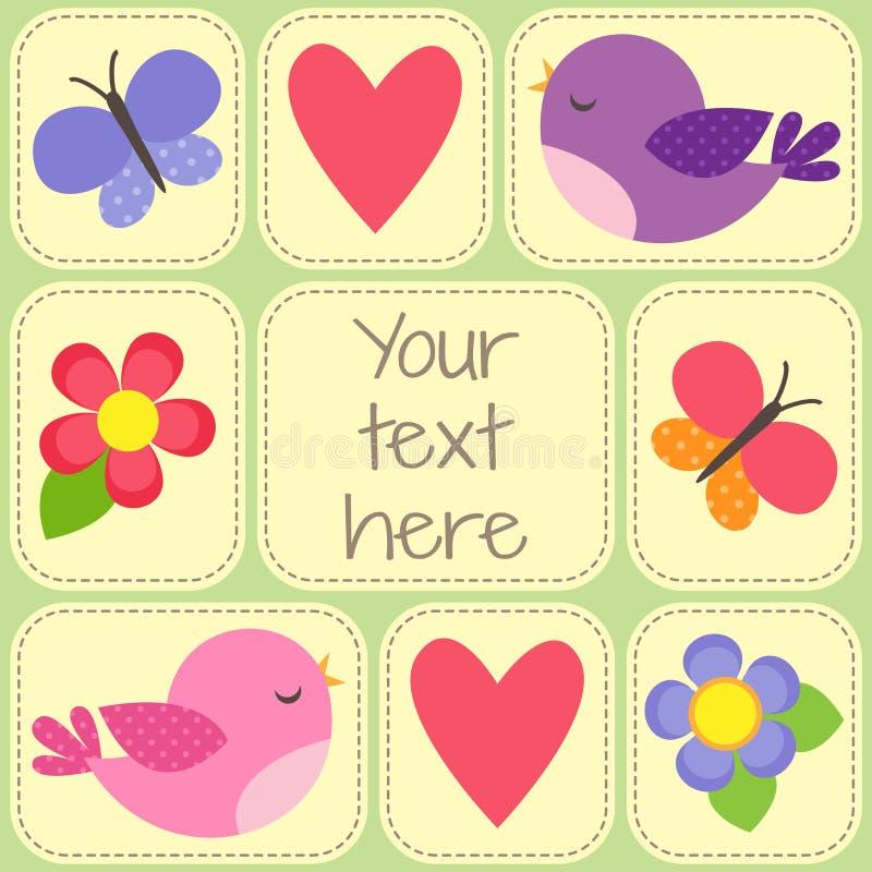Dirigez la carte avec les oiseaux, les papillons et les fleurs mignons illustration libre de droits