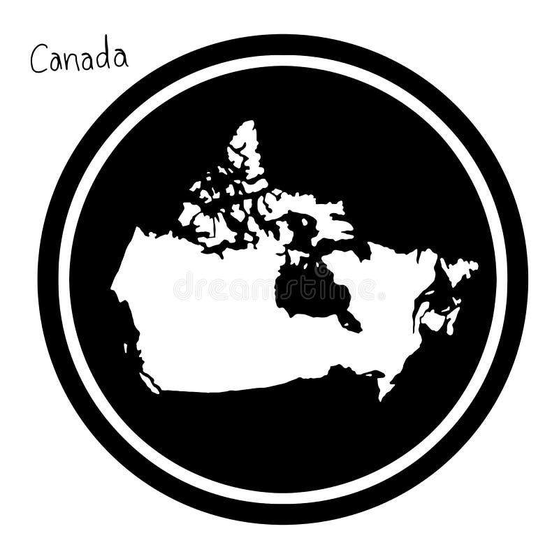 Dirigez la carte blanche d'illustration du Canada sur le cercle noir, isolat illustration libre de droits