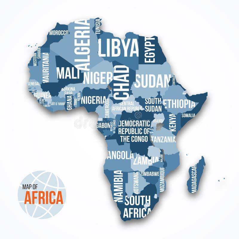 Dirigez la carte détaillée de l'Afrique avec des frontières et des noms du pays illustration stock