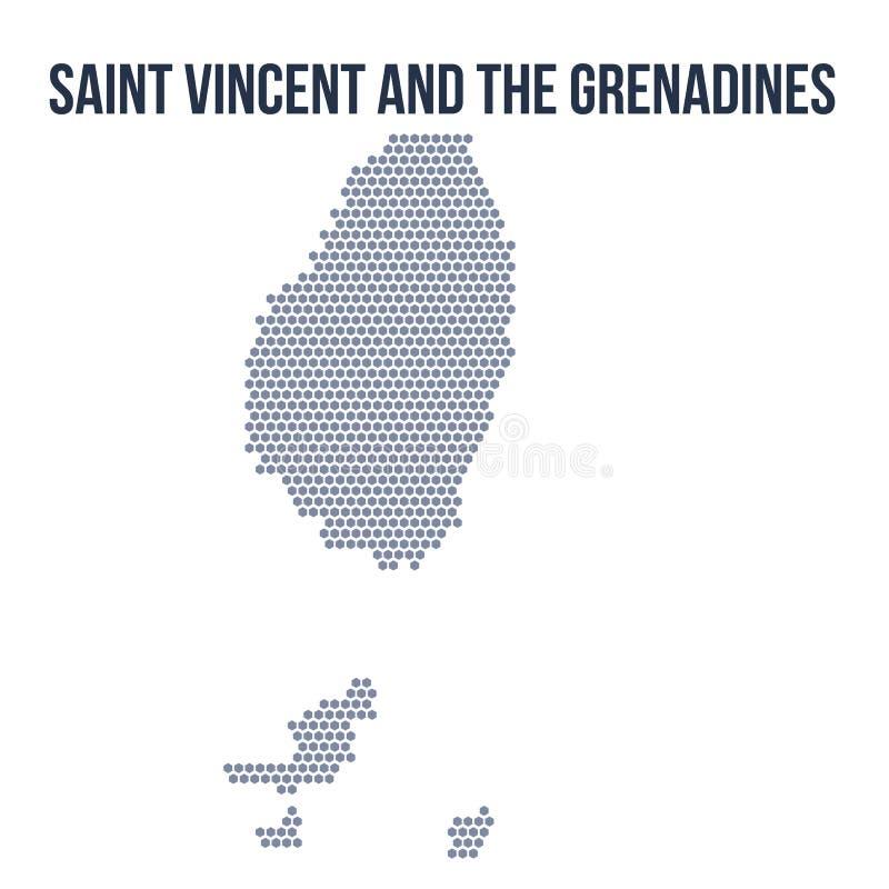 Dirigez la carte d'hexagone de Saint-Vincent-et-les-Grenadines a isolé sur le fond blanc illustration stock